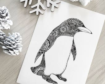 Card postcard zentangle Penguin printed 10 x 15