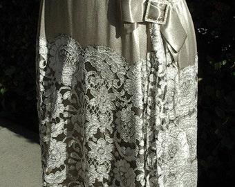Restored 1920s Era Dress Grey Satin/ Silver Metallic Lace Skirt  Item # 210 Dresses/ Gowns