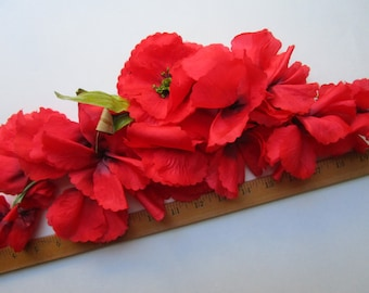 Huge Silk Red Poppies Garland Flowers  Halo Vintage Millinery Hat Trims