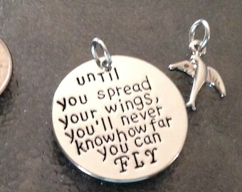 "1 - Until you spread your wings you""ll never know how far you can FLY""  Pendant or Charm, Angel Pendant"