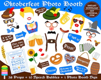 PRINTABLE Oktoberfest Photo Booth Props–Beer Photo Props-Printable Beer Props-German Party Props-Germany Photo Props-Instant Download