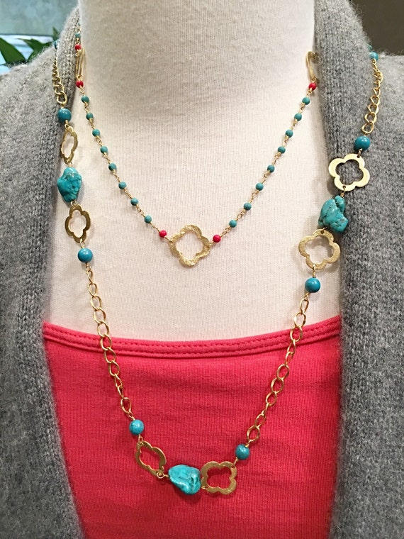 Turquoise Clover and Red Coral Necklace Designer Chains