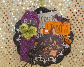 Retro Black Cat Halloween Ornament