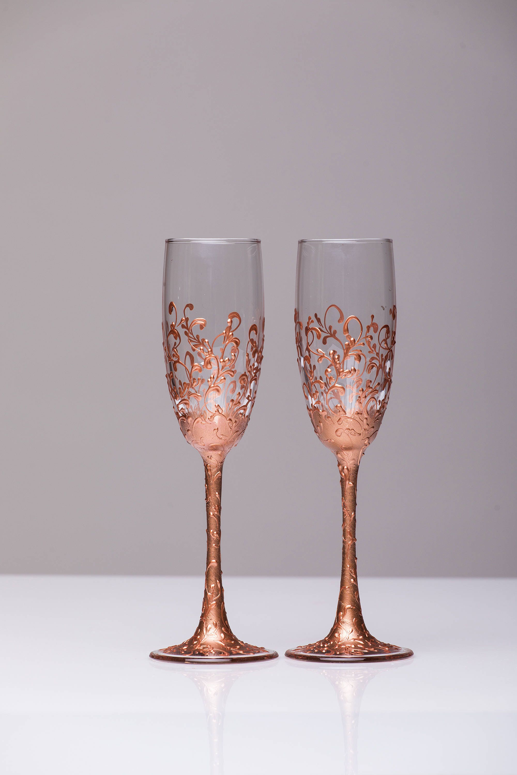 Wedding glasses rose gold Personalized glasses Rose Gold