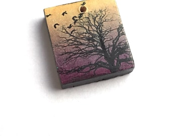 Yellow and purple tree charm, patterned sunset wooden scrabble tile painted black handmade jewellery supplies jewelry components crafting