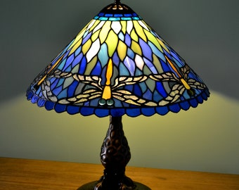 Dragonflies Tiffany Lamp. Table Lamp Tiffany Style. Stained Glass Desk Lamp.  Stained Glass