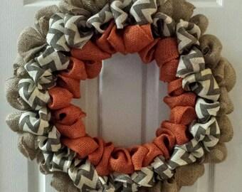 Burlap Wreath in Orange and Chevron