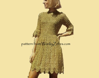 Vintage Crochet Dress Pattern PDF 711 from WonkyZebra