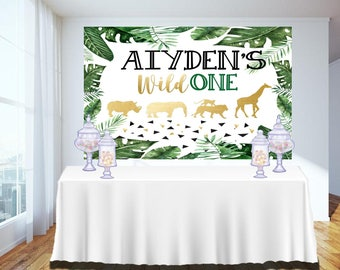 DIGITAL FILE Birthday Party, Baby Shower Welcome Sign, Door Tag, Safari Animal Theme, Wild One Party Decor SA-20