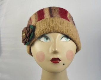Wool Hat from preloved Wool Sweaters  (SizeM)