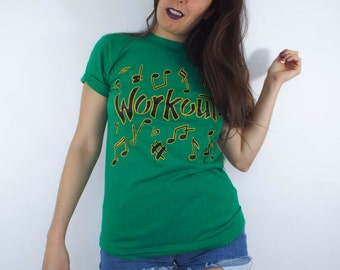 Vintage 80s Retro Workout Music Note Tee