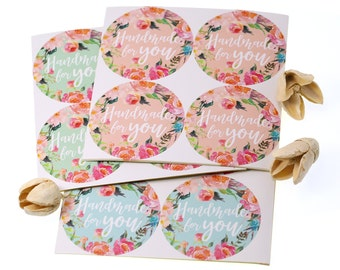Handmade for You stickers, Water Resistant Matte Lamination Finish, Watercolor Wreath Round Cut Sticker for Etsy Sellers, Wedding, Party