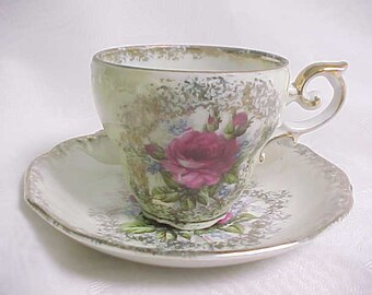 Demitasse Cup and Saucer, Made in Japan Porcelain Demi Cup & Saucer, Pearl Luster with Pink Roses and Gold Trim Tea Cup, Vintage Lustreware