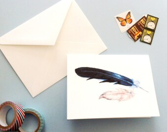 Watercolor Feathers Card