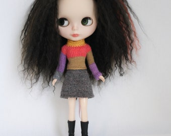 Blythe doll Cora Sweater knitting PATTERN - reverse cardigan short or long sleeve Neo - instant download - permission to sell finished items