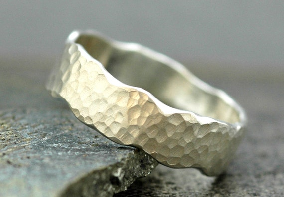 Hammered Sterling Silver Wave Ring- Custom Made