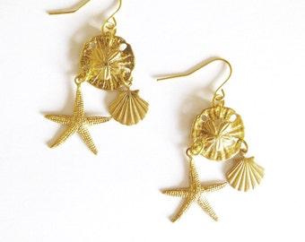 Gold Starfish Earrings Little Mermaid Jewelry Sand Dollar Seashell Sea Shell Nautical Charm Beach Ariel Accessories Wife Womens Gift Summer