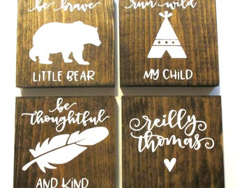 Woodland themed mini nursery signs.  Baby shower gift, baby shower decor.  Woodland baby.  Bear, fox, moose, feather, arrow, mountains.