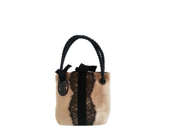 GEGE BURLAP LACE MINI Black