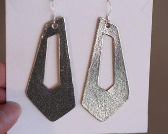 Smooth Metallic Silver Asymmetrical Cut Out Earrings, leather earrings