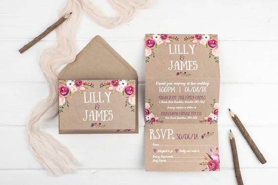 Rustic Wedding Invitation - Kraft Wildflower Z-Fold