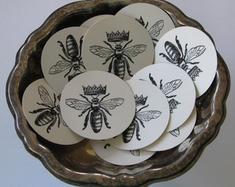 Queen Bee Tags Round Gift Tags Set of 10