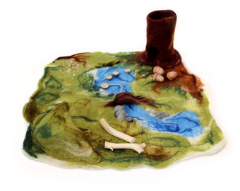 Waldorf inspired natural play scape play mat Forest Oak River Lake Cave Rocks Acorns Wood Meadow organic needle wet felted toy pretend play