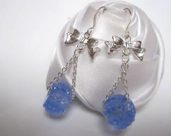 Earrings small rain of gorgeous blue beads