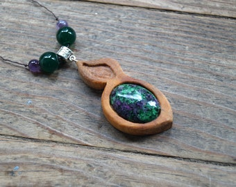 Floralia - Pendant handcrafted beech wood, Ruby-Zoisite, amethyst and Aventurine