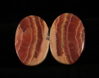 40.00cts 100% Natural Matched Pair Of Rhodochrosite 24x15x5mm Loose Cabochon Gemstone NH372