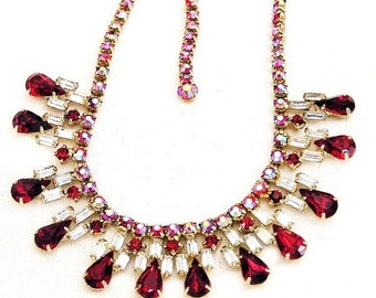 Vintage 1960s Red and Clear Baguette Necklace