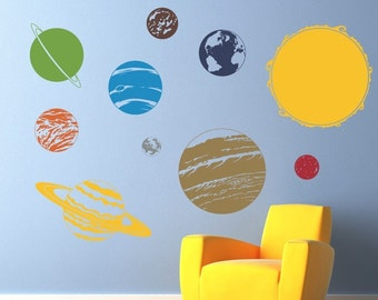 Solar System with Sun Vinyl Wall Decal - Children Wall Decals - Solar System Wall art