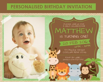 Printable Zoo Birthday Invitation, Zoo Invitation, 1st 2nd 3rd 4th 5th 6th Birthday, DIY Birthday Invitation, Birthday Invitation