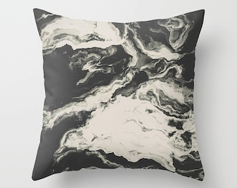 Abstract Throw Pillow. 18x18 Pillow Case. Marble Effect Cushion Cover. Bohemian Pillow. Sofa Pillow. Modern Cushion. Decorative Pillow Case.