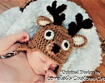 Reindeer hat, deer hat for babies or children. Newborn through adult sizes available.