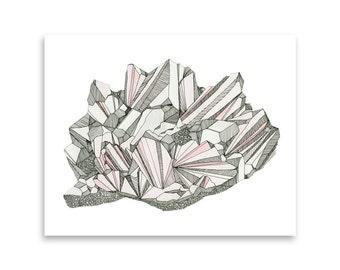 Rose Quartz Greeting Card / Crystals and Gems / Gemstones / Gem Card / Watercolor Crystals / Crystal Art / Mishka Marie