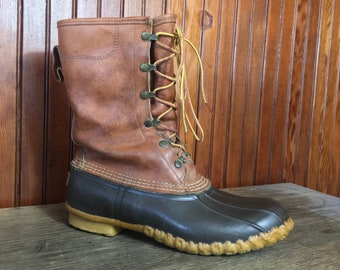 Vintage LL Bean Gore Tex Lined Duck Boots Men's 9 M Thinsulate Brown Leather