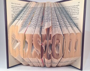 Book Folding Custom - Personalized Folded Book - BLOCK FONT -  Last Name