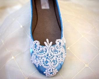 Blue Flats -Blue wedding shoes - The Lyria Size 8.5 SALE