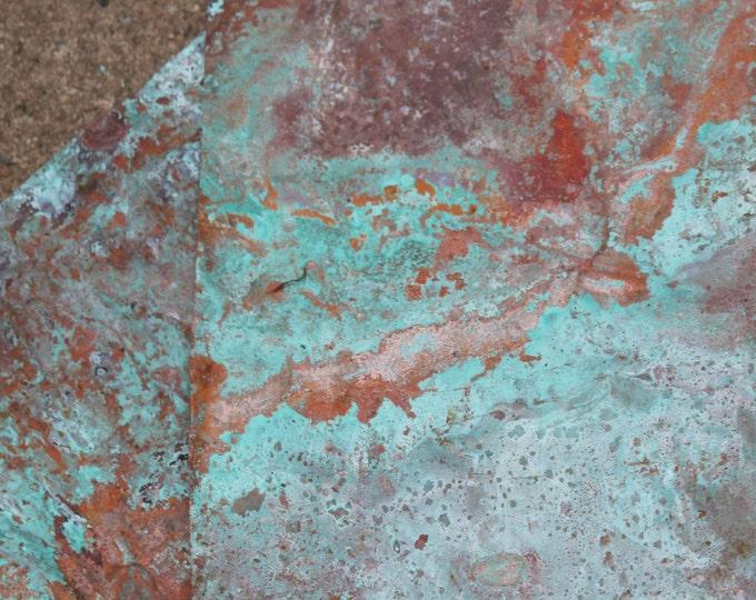 Copper Sheet Metal 8inx12in , Wonderful Aged Green Blue Patina, Turquoise Blue , Splash Design , Creative Memories , Metal Working , Supply