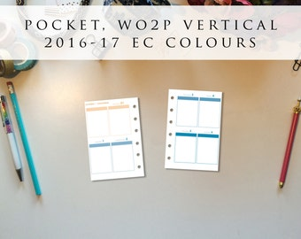 Pocket planner inserts - week on 2 pages (WO2P), vertical, Mon-Sun, 2016/17 EC colours, pre-punched (PO.4)