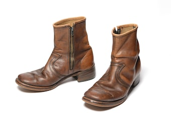 mens vintage boots 70s Chelsea boots campus ankle boots 1970 menswear distressed brown leather boot Talon zipper men size 9 9.5
