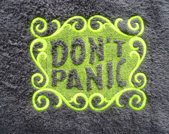 Don't Panic Towel Day. Luxury BATH Towel. Douglas Adams, The Hitchhiker's Guide to the Galaxy. Do you know where your towel is?