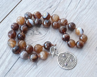 Botswana Agate Natural Brown Stone Necklace, Sterling Silver & Ruby Pendant, Chunky Earthy Necklace, Knotted Necklace, Fashion Gift For Her