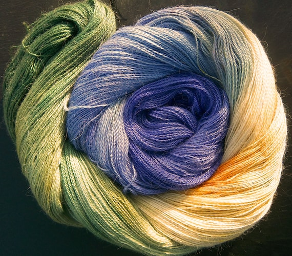 Alpaca Silk Lace 2ply Yarn Elvincraft Hand Dyed Painted Spring Blue Crocuses