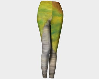 "Smooth Gray and Colored Leggings for the Yoga lover or Athlete from PastelArt  ""On a walk"" tights"