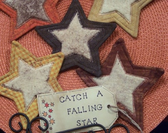 Primitive Country FALL STARS Fabric Coasters Mug Mats Ornies Scatter Mats