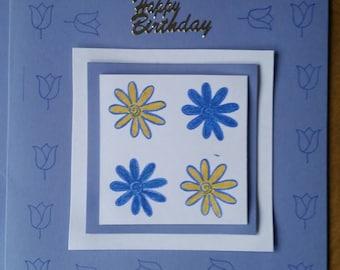 Handmade birthday card 5x5/blue card/birthday wishes./cute card.
