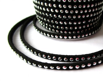 dangles of silver rhinestones - Black Suede cord