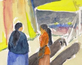 Original Watercolor Portugese Market Scene